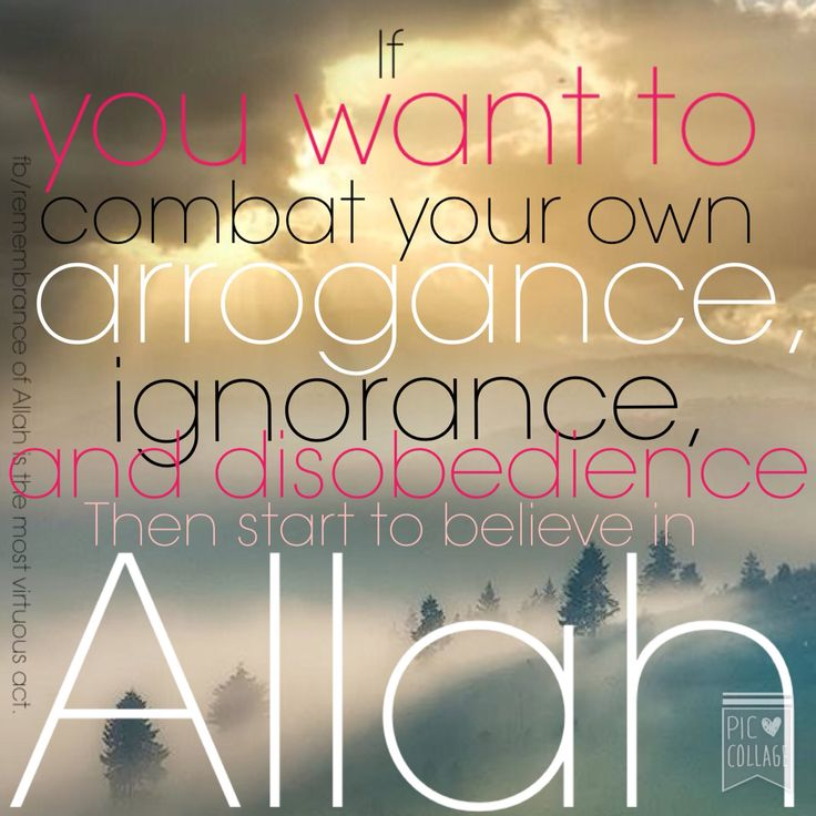 If you want to combat your own arrogance, ignorance and disobedience. Then start to believe in Allah. #islam #muslim #allah
