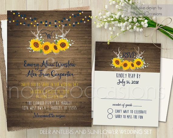 modern floral spring summer wedding invitation set invitation deer antlers and sunflower design