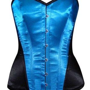 royal blue real steel boned corset