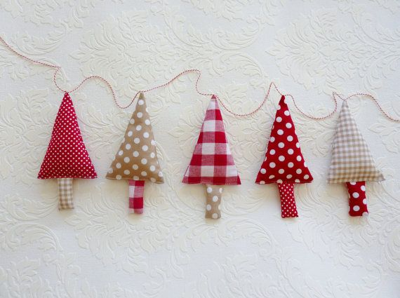 Fabric Christmas Garland Tree Garland Banner Bunning, Pennant in red, white and ecru on Etsy, £19.21