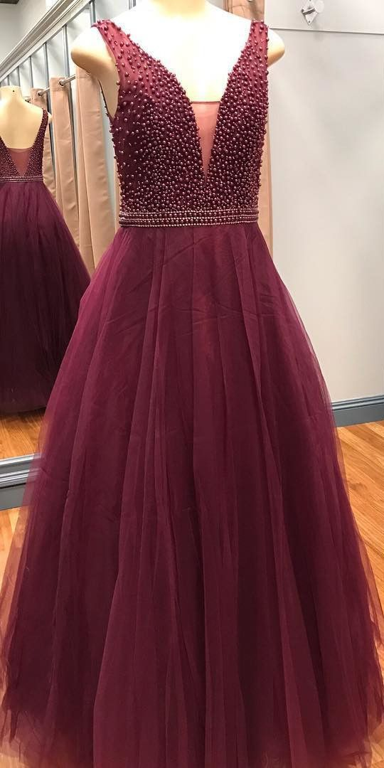 2a2e8364a2d A-Line Low Cut V-Neck Burgundy Tulle Prom Dress with Beading