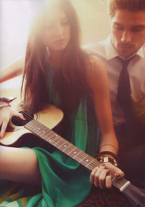<3Music, Guitar Lessons, Boho Chic, Beautiful, Engagement Shots, Engagement Pics, Plays, Couples, Green Dresses