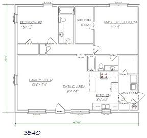 Barndominium cost 2 bedroom, 2 bathroom 35x40