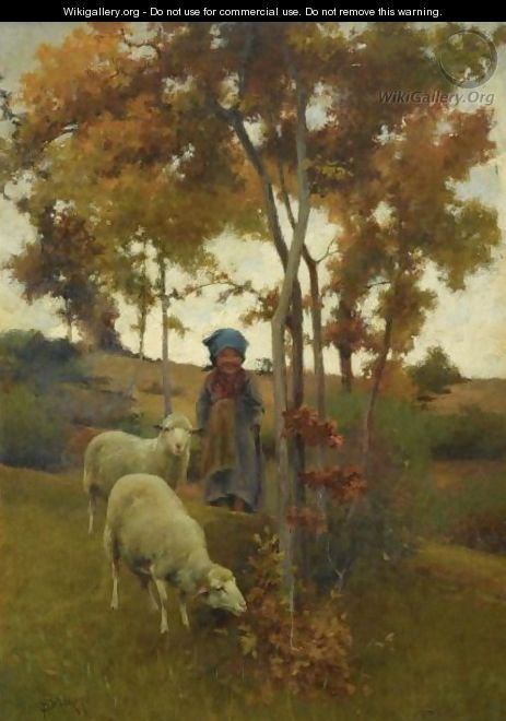 The Little Shepherdess And Her Sheep - Stefano Bruzzi