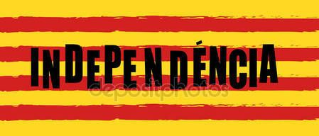 Download - Catalonia Independence Day logo. Catalonia flag, red and yellow color stripes, colorful brush strokes painted national flag banner. Painted texture. Independence day patriotic background. Estelada Abstract design poster vector illustration — Stock Illustration #168525750