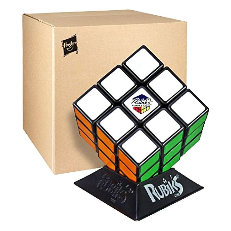 Real Original Rubik's Cube Game Rubix Rubic's 3x3 With Base Stand Puzzle, NEW! #Hasbro
