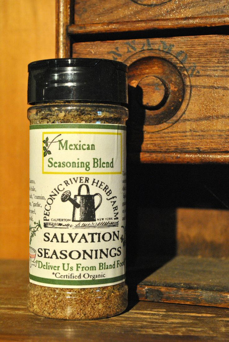 Mexican Seasoning Blend - Use in any southwestern dish: fajitas, salsa, guacamole, or in a bean and rice recipe. $7.95  Find it in the Outside In garden shop at the Peconic River Herb Farm! #deliverusfromblandfood #mexicanseasoning