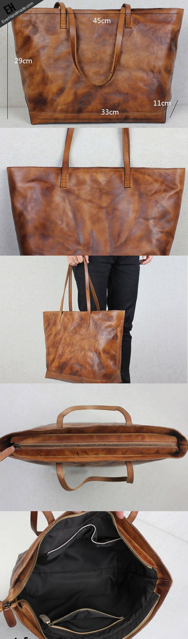 Handmade leather tote modern vintage leather large brown tan tote bag | EverHandmade