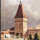 Carti Postale Romania dupa 1918 - Carte postala ilustrata Poarta Cisnadiei - Sibiu, din exterior