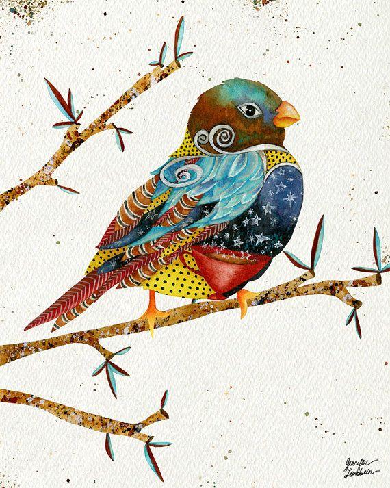 8x10 Art Print. Twilight Bird by TheOpulentNest on Etsy, $18.00 Artwork by Jennifer Lambein. #bird