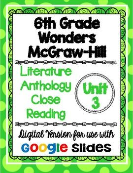 Are you ready to go paperless in your classroom? I have converted one of my best selling products to a DIGITAL version that can be used with Google Classroom! This resource is based on the 6th grade Wonders McGraw-Hill reading series. This is a weekly activity that I like to use when teaching the story in the Literature Anthology book.