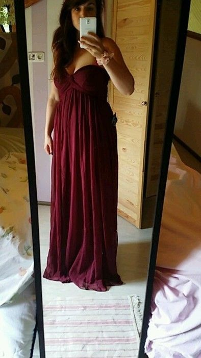 Abendkleid Brautjungfernkleid lang Bordeaux