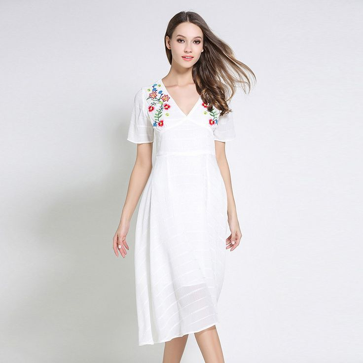 >> Click to Buy << Summer Dress 2017 Floral Embroidery Ukraine Women Clothing New Style White Dress Womens Sexy Dresses Party Night Club Dress #Affiliate