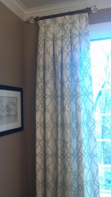 Window treatment solutions: Box pleat drapes on a short rod by Christina Lambert Custom Interiors & Upholstery