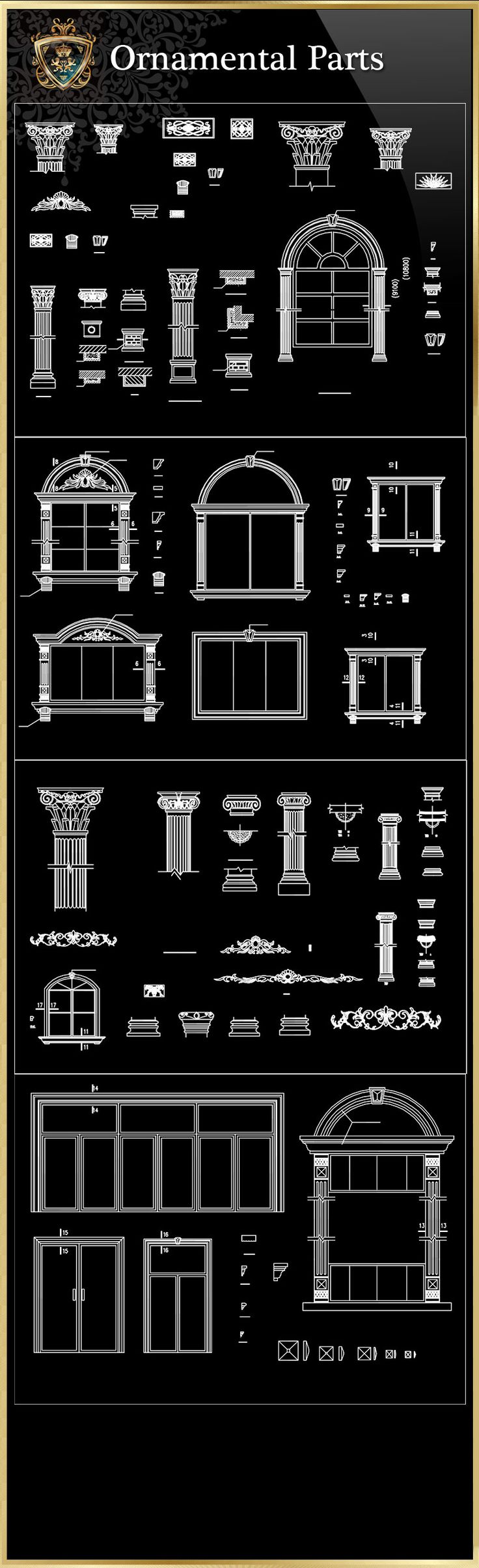 ★【Ornamental Parts of Buildings 8】Download Luxury Architectural Design CAD Drawings--Over 20000+ High quality CAD Blocks and Drawings Download!