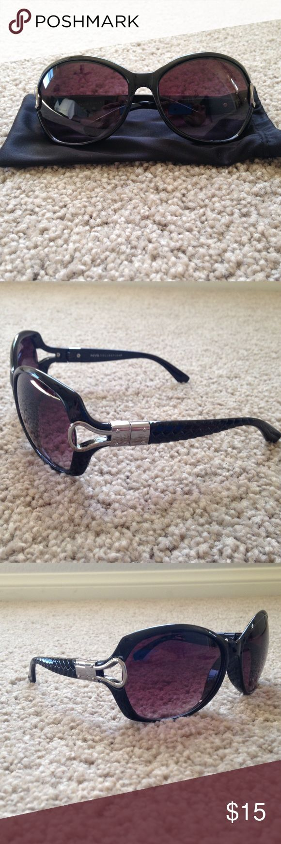 NWOT NYS Sunglasses NWOT!!! Never worn!! NYS collection sunglasses. All around black. These have a nice basket weave type detail on the bows! Comes with pouch for protection!!! Accessories Sunglasses