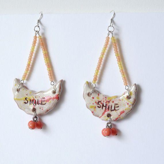 Grandes Boucles d'Oreille Gypsy Boho Chic Style Hippie Bohème, Bijou à Message Smile, Fête des Mères : Boucles d'oreille par bleuluciole