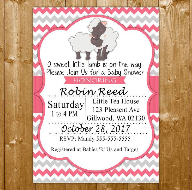 Lamb Baby Shower Invitation - Baby Shower Invitation for a Girl - Pink Baby Shower Invitation - Sweet Little Lamb Invite SLL1001PK