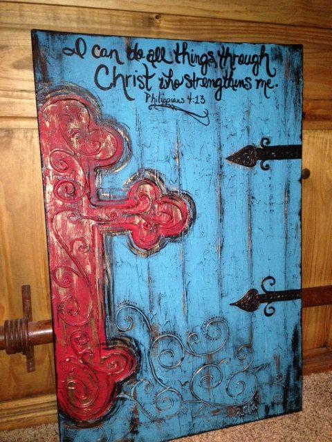Very Large Handpainted Textured Cross by Cross~My~Art~Designs by Darla