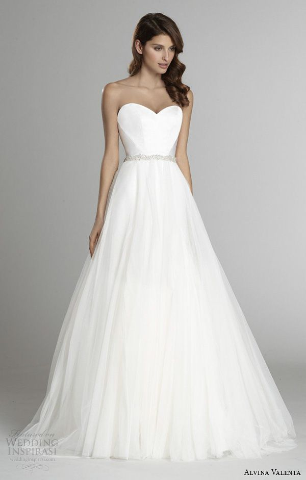 strapless sweetheart neckline silk faced modified a line wedding dress detachable tulle overskirt av9554