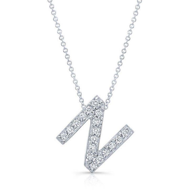14K White Gold Letter N 0.36Ct Natural Diamond Initial Pendant Alphabet Necklace #diamondberry8 #Pendant