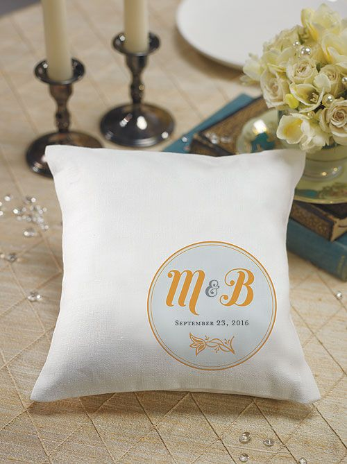 """""""Notable"""" Personalized Ring Pillow with Circle Floral Monogram"""