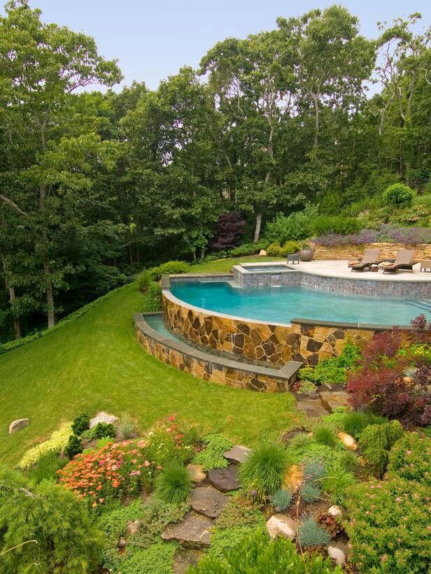 25 best images about backyard on pinterest backyard for Pool design sloped yard