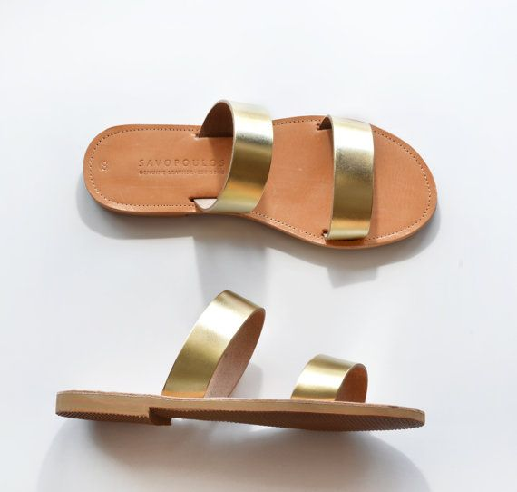 Leather SandalsTwo strap women sandals in Gold by SAVOPOULOS