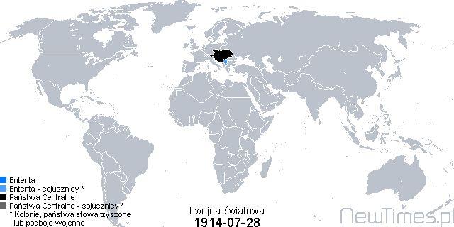 World War I map - timeline