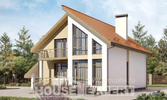 170-009-R Two Story House Plans and mansard with garage in back, inexpensive Home House