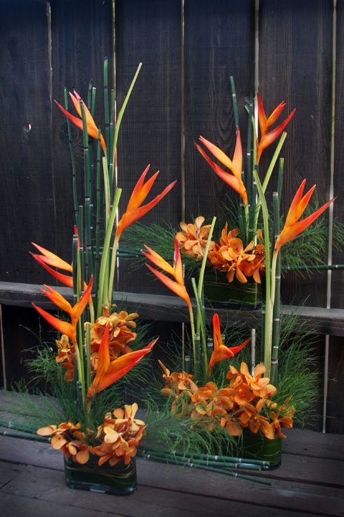 Floral Table Centerpiece Arrangements : Equisetum heliconia and mango mokara orchids
