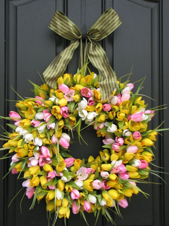 Front Door Wreath Spring Tulips Spring Wreath Tulips