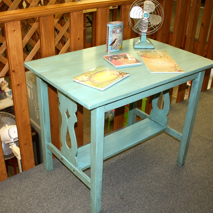 Teal Library Table