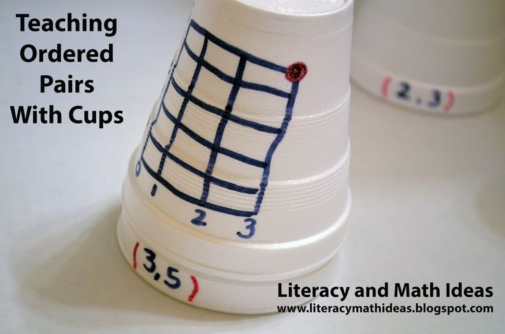 Use cups to teach ordered pairs and other math concepts.  Click the image to view pictures and directions.
