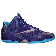 Nike LeBron XI - Mens Basketball Shoes - Lebron James Court Purple/Vivid Blue/Reflective Silver