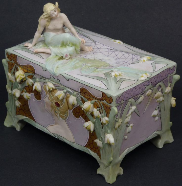 French porcelain art nouveau figural box, late 19th century or early 20th.
