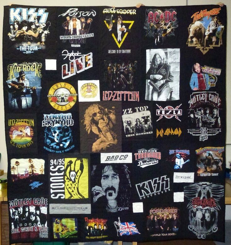 I may not necessarily care for the 'topic', but I do like the concept...  Rock n' Roll Concert T-shirt Quilts