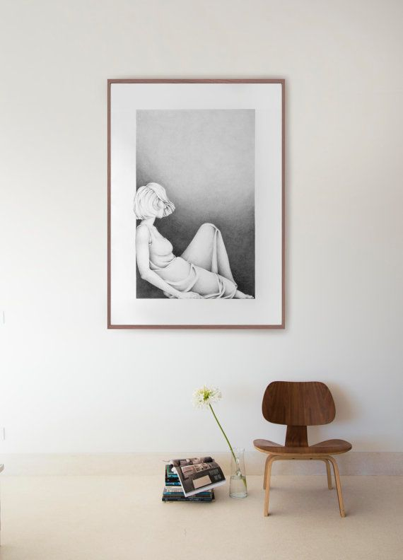 Original large pencil drawing on paper  Woman resting