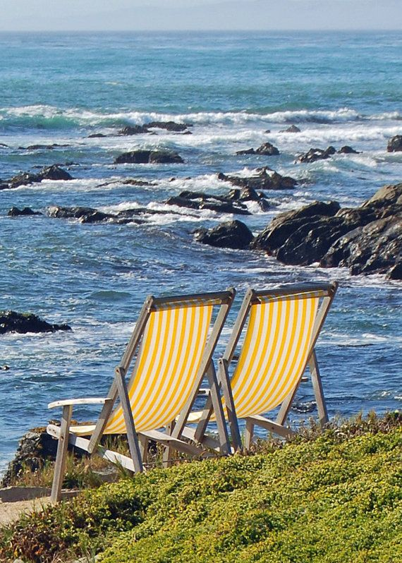 Cambria California- Yellow Beach Chairs- Fiscalini Ranch-Fine Art Photography-8X10 on Etsy, $25.00
