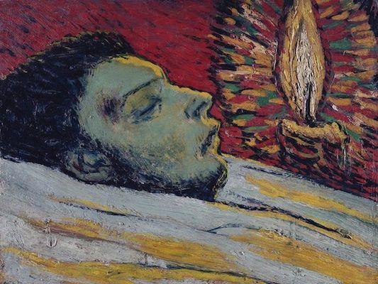 """Pablo Picasso, """"La mort de Casagemas"""" (1901)  Teint vert pour montrer la mort, couleur complémentaire rouge, bougie avec ses rayons"""