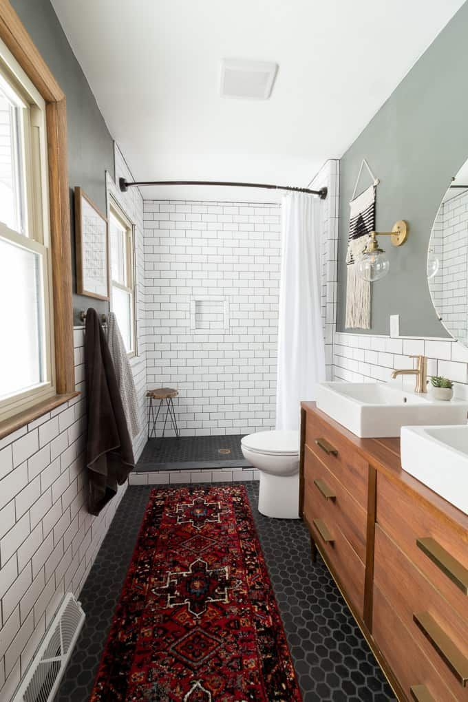 Modern Bathroom With Subway Tile Reveal Modern Bathroom Remodel Modern Bathroom Modern Farmhouse Bathroom