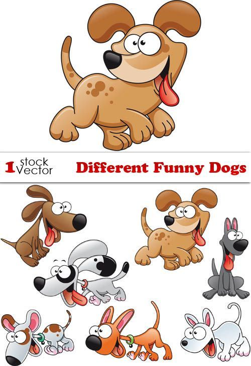 Веселые собаки в векторе   Funny Dogs Vector