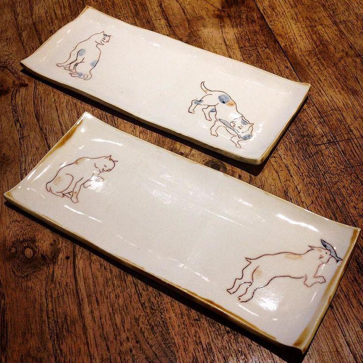 田川亞希さん作 どろぼう猫皿 猫ちゃんの表情かわいい焼き魚やお刺身にぴったりのお皿です笑 #織部 #織部下北沢店 #陶器 #器 #ceramics #pottery #clay #craft #handmade #oribe #tableware #porcelain