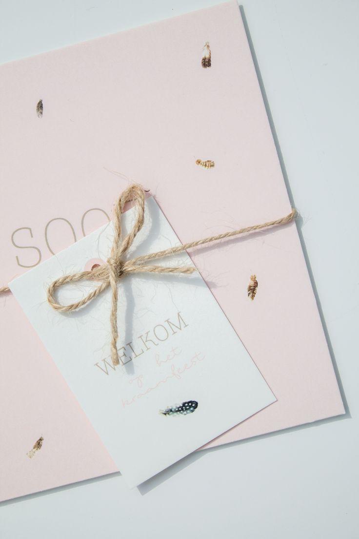 Zachtroze geboortekaartje voor soof met kleine veertjes ontwerp door leesign - Bebe ontwerp ...