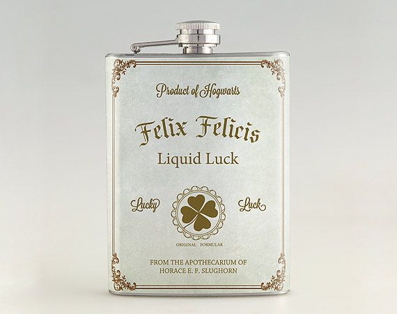 Take a little Liquid Luck with you wherever you go with this awesome Felix Felicis hip flask.
