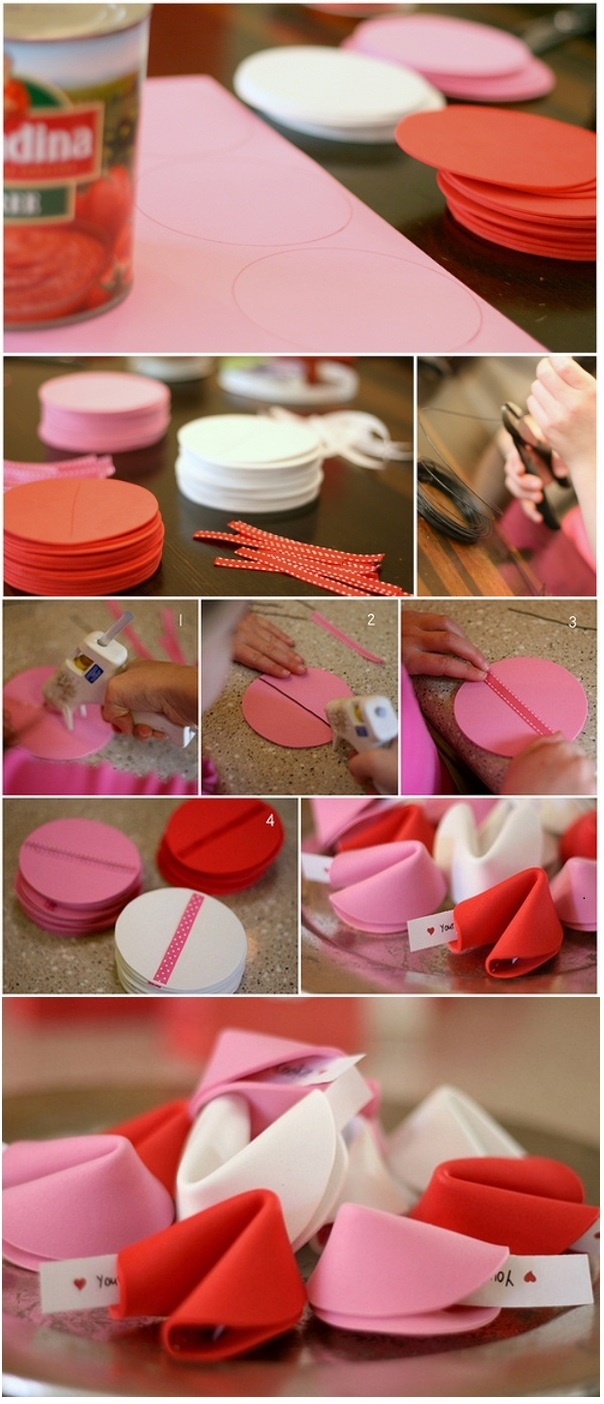 Valentine's Day: Fortune Cookie Tutorial - Do shades of brown for regular days. #clay idea - miniatures would be adorable