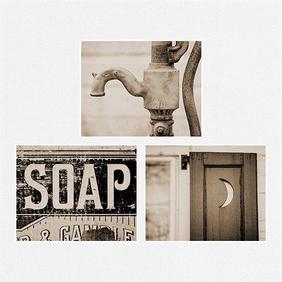 Vintage Sepia Bathroom Decor Sepia Bathroom Print Set Sepia Bath Set Rustic Bathroom