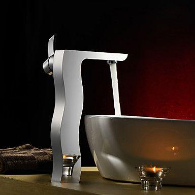 polvilhe ® por LightInTheBox - única alça centerset latão maciço torneira pia do banheiro (de altura), acabamento cromado – BRL R$ 420,96