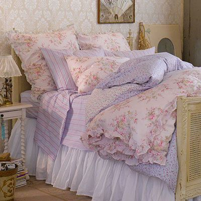 lavender shabby chic bed