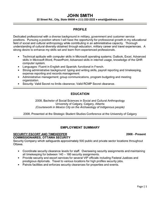 Click Here to Download this Security Escort and Timekeeper Resume Template! http://www.resumetemplates101.com/General-resume-templates/Template-374/